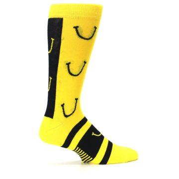 Image of Yellow LaughFest Smiley Men's Dress Socks (side-1-24)