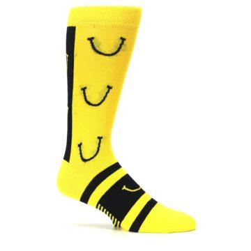 Image of Yellow LaughFest Smiley Men's Dress Socks (side-1-25)