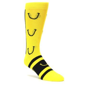 Image of Yellow LaughFest Smiley Men's Dress Socks (side-1-27)