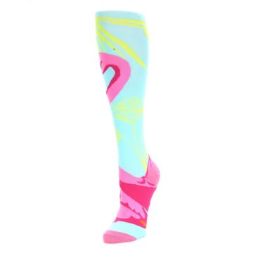 Image of Light Blue Pink Flamingo Women's Knee High Socks (side-2-front-08)