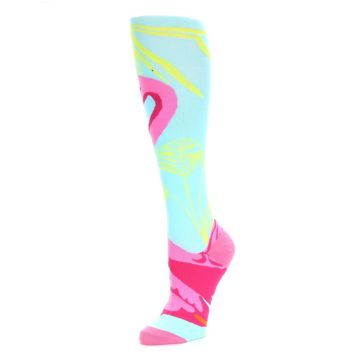 Image of Light Blue Pink Flamingo Women's Knee High Socks (side-2-09)