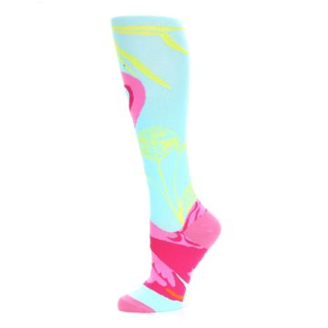 Image of Light Blue Pink Flamingo Women's Knee High Socks (side-2-11)