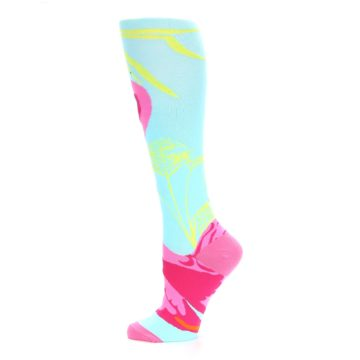 Image of Light Blue Pink Flamingo Women's Knee High Socks (side-2-12)