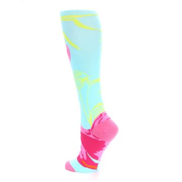 Image of Light Blue Pink Flamingo Women's Knee High Socks (side-2-back-14)