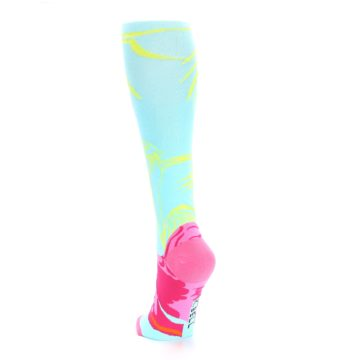 Image of Light Blue Pink Flamingo Women's Knee High Socks (side-2-back-16)
