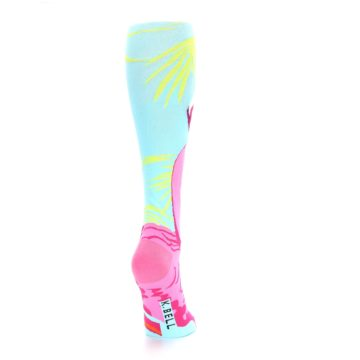 Image of Light Blue Pink Flamingo Women's Knee High Socks (side-1-back-20)