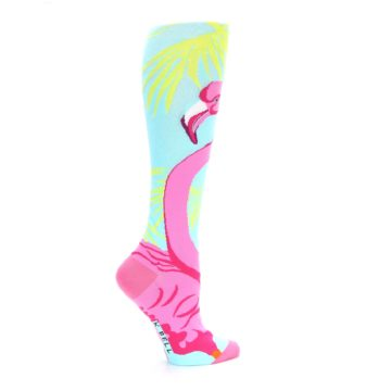 Image of Light Blue Pink Flamingo Women's Knee High Socks (side-1-24)