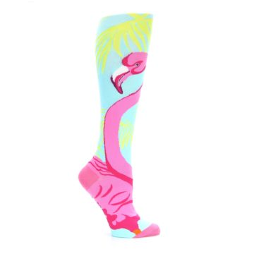 Image of Light Blue Pink Flamingo Women's Knee High Socks (side-1-25)