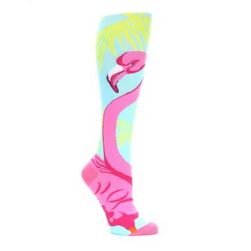 Image of Light Blue Pink Flamingo Women's Knee High Socks (side-1-26)