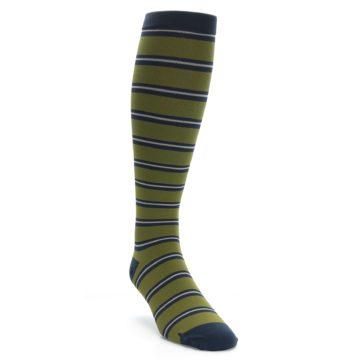 Image of Green Navy Stripe Men's Compression Dress Socks (side-1-front-02)