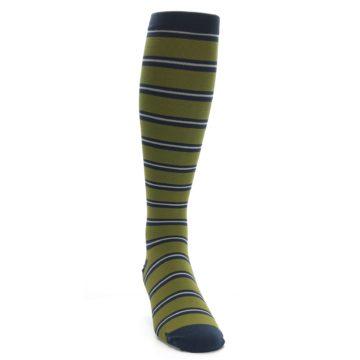 Image of Green Navy Stripe Men's Compression Dress Socks (side-1-front-03)