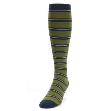 Image of Green Navy Stripe Men's Compression Dress Socks (side-2-front-06)