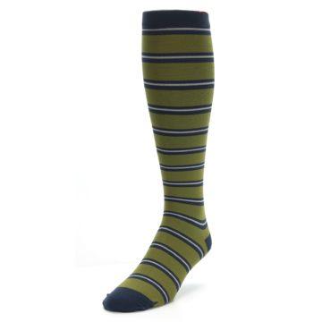 Image of Green Navy Stripe Men's Compression Dress Socks (side-2-front-07)