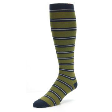 Image of Green Navy Stripe Men's Compression Dress Socks (side-2-front-08)