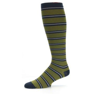 Image of Green Navy Stripe Men's Compression Dress Socks (side-2-09)