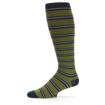 Image of Green Navy Stripe Men's Compression Dress Socks (side-2-10)