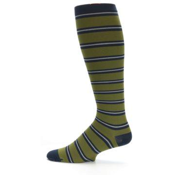 Image of Green Navy Stripe Men's Compression Dress Socks (side-2-11)