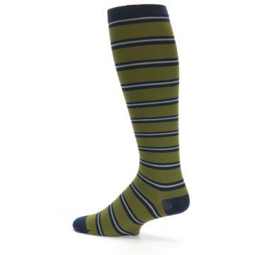 Image of Green Navy Stripe Men's Compression Dress Socks (side-2-12)