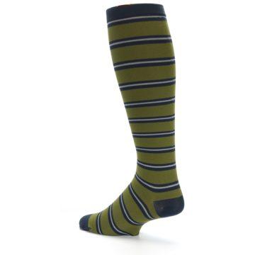 Image of Green Navy Stripe Men's Compression Dress Socks (side-2-13)