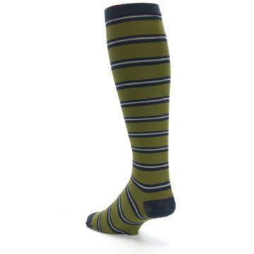 Image of Green Navy Stripe Men's Compression Dress Socks (side-2-back-14)