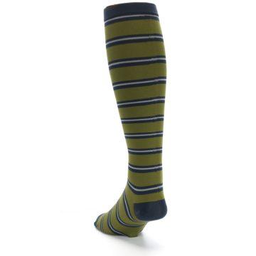 Image of Green Navy Stripe Men's Compression Dress Socks (side-2-back-15)