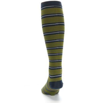 Image of Green Navy Stripe Men's Compression Dress Socks (side-2-back-16)