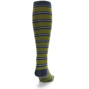 Image of Green Navy Stripe Men's Compression Dress Socks (back-18)
