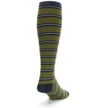 Image of Green Navy Stripe Men's Compression Dress Socks (back-19)