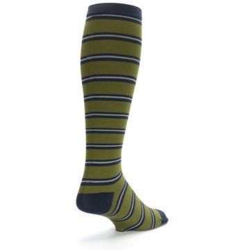 Image of Green Navy Stripe Men's Compression Dress Socks (side-1-back-20)