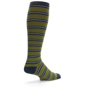 Image of Green Navy Stripe Men's Compression Dress Socks (side-1-back-21)