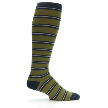 Image of Green Navy Stripe Men's Compression Dress Socks (side-1-23)