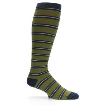 Image of Green Navy Stripe Men's Compression Dress Socks (side-1-24)