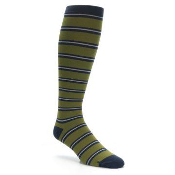 Image of Green Navy Stripe Men's Compression Dress Socks (side-1-26)