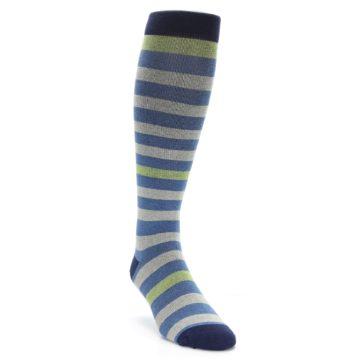 Image of Blue Grey Stripe Men's Compression Dress Socks (side-1-front-02)