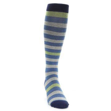 Image of Blue Grey Stripe Men's Compression Dress Socks (side-1-front-03)