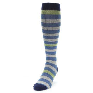 Image of Blue Grey Stripe Men's Compression Dress Socks (side-2-front-06)