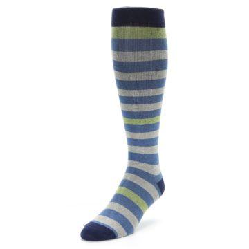 Image of Blue Grey Stripe Men's Compression Dress Socks (side-2-front-07)