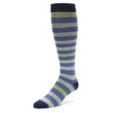 Image of Blue Grey Stripe Men's Compression Dress Socks (side-2-front-08)
