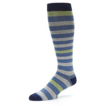 Image of Blue Grey Stripe Men's Compression Dress Socks (side-2-09)
