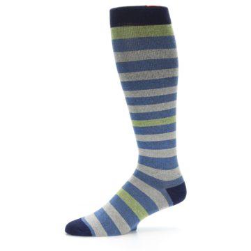 Image of Blue Grey Stripe Men's Compression Dress Socks (side-2-10)