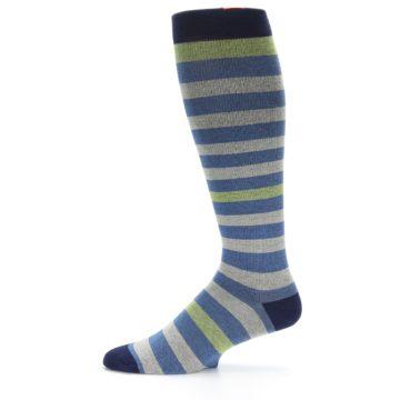 Image of Blue Grey Stripe Men's Compression Dress Socks (side-2-11)
