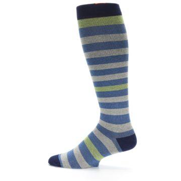 Image of Blue Grey Stripe Men's Compression Dress Socks (side-2-12)