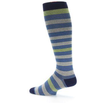 Image of Blue Grey Stripe Men's Compression Dress Socks (side-2-13)