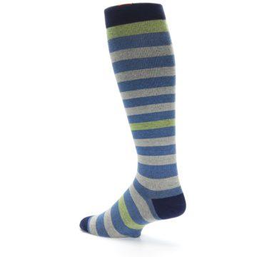 Image of Blue Grey Stripe Men's Compression Dress Socks (side-2-back-14)