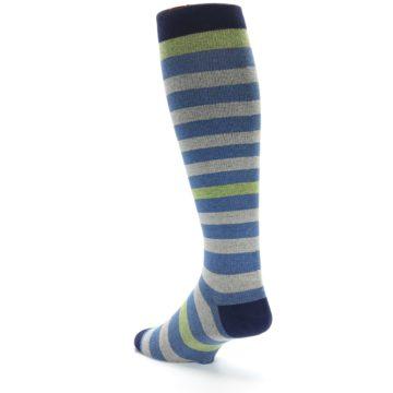 Image of Blue Grey Stripe Men's Compression Dress Socks (side-2-back-15)
