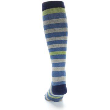 Image of Blue Grey Stripe Men's Compression Dress Socks (back-17)