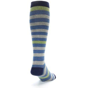 Image of Blue Grey Stripe Men's Compression Dress Socks (side-1-back-20)
