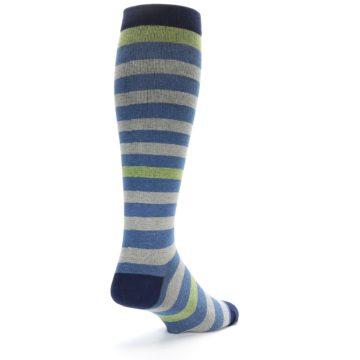 Image of Blue Grey Stripe Men's Compression Dress Socks (side-1-back-21)