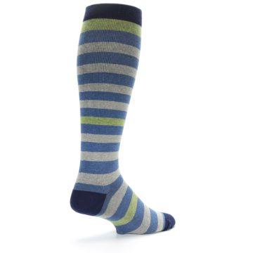 Image of Blue Grey Stripe Men's Compression Dress Socks (side-1-back-22)