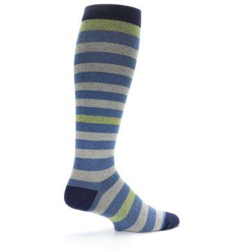 Image of Blue Grey Stripe Men's Compression Dress Socks (side-1-23)